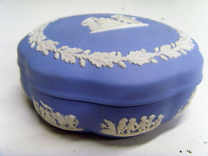 Good Condition, Wedgwood Blue Jasperwear, Large Trinket Box