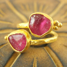 Handmade Turkish Jewelry Rough Ruby Ring 24K Gold Over 925K Sterling Silver