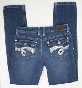Justice Girls Size 14 Sequin Rhinestone Flap Pocket Straight Taper Stretch Jeans