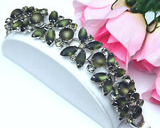Vintage Juliana D&E 5 Link Bracelet With Green Frosted Glass & Rhinestone