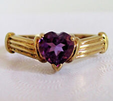 10K Yellow Gold .27CT Heart Shape Amethyst Ring 1.37 Grams Size 7 Signed WM