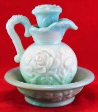 Vintage 1970s Avon Pitcher & Bowl Green Slag Milk Glass Embossed Floral Design