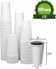 8 Oz 150 Cups Togo Disposable White Paper Coffee Cups