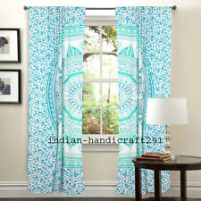 Ombre Mandala Tab Top Curtain Drape Panel Cotton Indian Tapestry Curtain Set New
