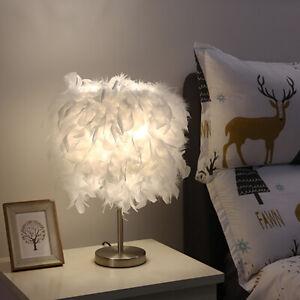 1-2 Romantic Feather Shade Table Lamp Elegant Bedside Desk Night Light Gift
