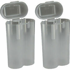 2 CLEAR 18650 & CR123A 2 Battery Holder Storage Case for 18650 BATTERIES