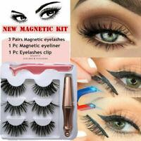 SKONHED 3Pair Magnetic Eyelashes W/ 1Pc Magnetic Eyeliner + Tweezer Easy to Wear