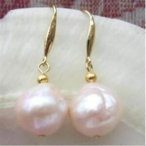 12mm Natural South Sea Baroque Rose Gold Pearl Earrings 14k Irregular Fashion