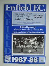 1987 Enfield F.C. V Ashford Town GMAC Taza 1st ronda programa de fútbol