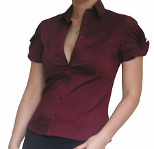 Bluse Damen Hemd kurzärmlig Office Damen Oberteile Größe 10 12 14 16 18 20