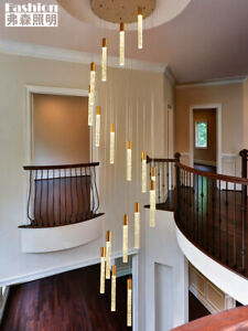 Remote Controler Duplex Staircase Chandelier LED Crystal Pendant Lamp lighting