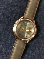 Vintage Mens Watch Wristwatch Leather Band Rose Gold Face Dial