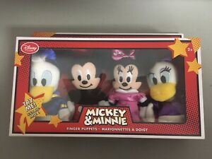 Disney Store Exclusive Mickey, Minnie, Donald and Daisy Finger Puppets Set - NEW