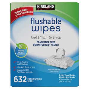 Newest Kirkland Signature Flushable Wipes 632 Wet Moist VitaminE+AloeTowelettes