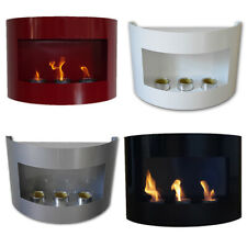Bio Ethanol Fireplace RIVIERA Wall Fire Place Steel Red Black White
