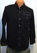 Harley Davidson BLACK WORK Shirt SMALL Mechanic Sewn Back Logo biker S 99096