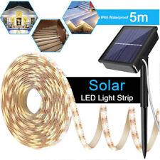 5M Solar LED Strip Light Waterproof Flexible String Outdoor Xmas Lamp Warm White