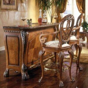 AICO by Michael Amini Eden bar and 2 bar stools