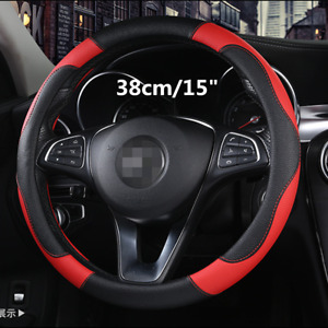 """Universal 15"""" Sport Car Steering Wheel Cover Non-slip PU Leather Black&Red 38cm"""