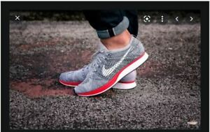 MENS 7 WOMENS 8.5 NIKE FLYKNIT RACER SHOES NO PARKING WHITE RED GREY 526628 013