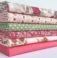 "6 Fat quarter BUNDLE Roses Pink & green 20 x 22 "" 100% cotton poplin fabric"
