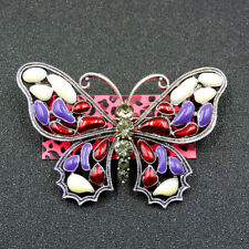 Betsey Johnson Charm Brooch Pin Gift New Red Enamel Cute Crystal Butterfly