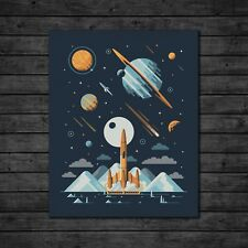"DKNG Europa (16""x20"" Rocket/Galaxy/Outer Space Silkscreen Art Print/Poster)"