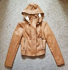 Guess Womens XS Brown Caramel Faux Leather Jacket with Removable Hood