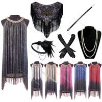 Vintage 1920's Gatsby Fringe Flapper Dress Charleston 20s Costume Tassel Party