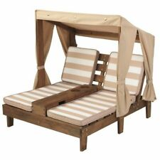 KidKraft Double Chaise Lounge with Cup Holder in Espresso and Oatmeal