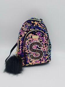 "NWT JUSTICE Girls Reversible Purple Sequin Mini Backpack Monogram Glitter ""S"""