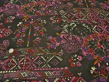 CRINKLE CHIFFON-BRIGHT ETHNIC FLORAL-BLACK/MULTIBRIGHT-DRESS FABRIC -FREE P+P