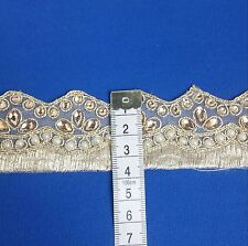 Fancy Bridal  Lace Trim Gold Ribbon Sewing Craft Wedding Saree Border by Yard
