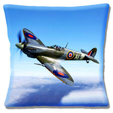 Supermarine Spitfire Plane Cushion Cover 16x16 inch 40cm WWII Multicolour Blue