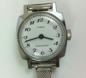 Vintage Timex Watch Women Silver Tone Manual Wind Up White Dial