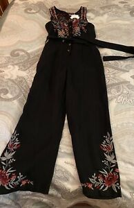 NWT JOHNNY WAS FABULOUS EMBROIDERED CROPPED LEG JUMPSUIT BLACK/ MULTI XS