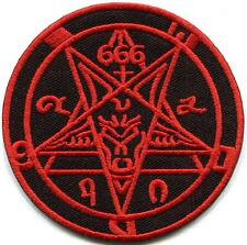 Satanic goat's head Baphomet pentagram 666 occult applique iron-on patch S-1235