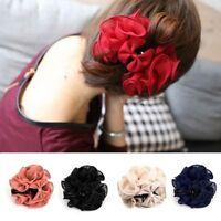 Women Chiffon Rose Flower Bow Jaw Clip Barrette Hair Claw Accessories Decor Gift