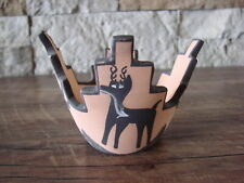 Native American Pottery Hand Painted Deer Pot by D. Westika, Zuni Pueblo
