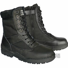 Black Leather SIDE ZIP Army Patrol Combat Boots Tactical Cadet Security 902