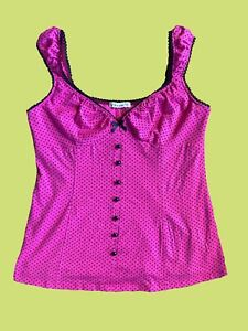 Womens Spot Top Sleevless Polka Dot Blouse Blue White Pink Ladies New UK S//M M//L