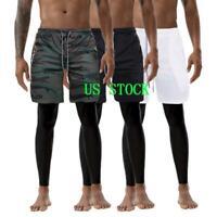 US Men's Shorts Pants Secure Pocket Pants Slim Fitness Bodysuit Leggings 2 IN 1