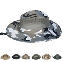 Cotton Boonie Hat Military Camo Bucket Wide Brim Sun Tactical Fishing Mesh Visor