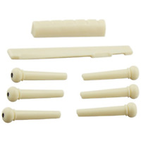 6 String Acoustic Guitar Bone Bridge Pins With Saddle And Nut (white) NEW
