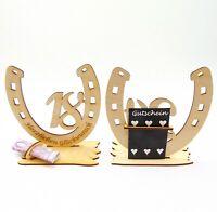 18 Geburtstag, Geldgeschenk, aus Holz mit Glückwunsch Gravur Pferdeliebhaberin