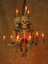 Skeleton Chandelier, w/ Three 33 inch Skeletons, Halloween Prop, Skulls, NEW