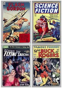 Large Metal Sci Fi Fridge Magnets, old comics and books, 10cm by 15cm