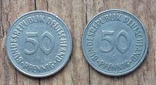 Bundesrepublik Deutsch.-2 Münzen je 50 Pfennig Prägung J Hamburg und G Karlsruhe