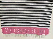 "Cotton Beach Swim Blanket Towel Mat Victoria's Secret Black/White Stripe 25"" x 4"