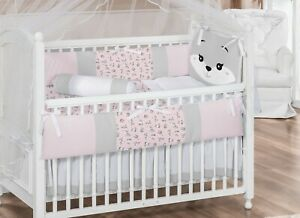 Little Happy Fox Theme Pink Baby Girl 07pc Nursery Crib Bedding Set Embroidered